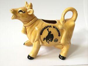 "Vintage Ceramic Dairy Cow Creamer Wonderful Wyoming Souvenir ""Let 'er Buck"""
