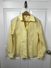 Foxcroft 12 Women's Fitted Shirt Ruffle Blouse Non-Iron MINT Yellow Career Work