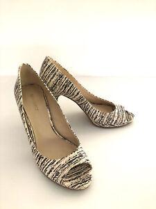 Nine West Shoes Nole Black Beige Pump Abstract Print Open Toe Platform Size 7.5M