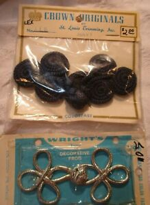 2 VINTAGE 1960-70's DECORATIVE FROGS SILVER METALLIC & NAVY BLUE SWIRLS SEWING