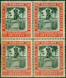 Barbados 1906 1d Black & Red SG147 Fine MNH Block of 4