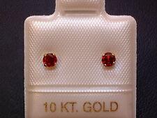 Feinste Granat Ohrstecker Ohrringe - 3 mm - 14 Kt. Gold - 585 - Brillantschliff