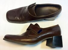 Bandolino Women's Brown Leather Loafers Shoes Size 8.5 Stacked Heel