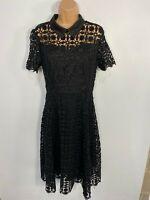 BNWT WOMENS DOLLY & DOTTY BLACK CROCHET 50'S VINTAGE ROCKABILLY SWING DRESS UK10