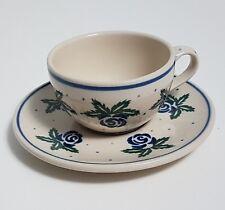 Handmade Polish Art Pottery Teacup Saucer Poland Blue Flowers Polka Dot