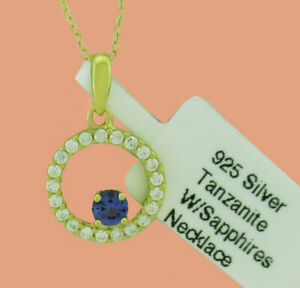 TANZANITE &  WHITE SAPPHIRES NECKLACE .925 Sterling Silver * NEW WITH TAG *