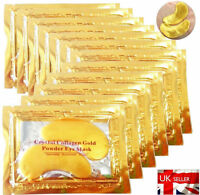 10 PAIRS PREMIUM Crystal Collagen Gold Powder Eye Masks Face Anti Ageing Wrinkle
