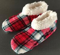 Damen Hausschuhe Stiefel Plüsch Boots Hüttenschuhe Winter Warm Rot Karo Primark