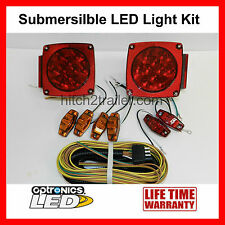 Submersible Truck Trailer Square LED Light kit, Stop Turn Tail, Marker, Harness