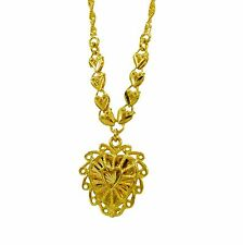 Heart Necklace 18 inch Chain Love Heart 18ct Gold Plated N161
