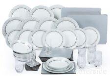 50pc Dinner Set Porcelain Plate Combo Dinnerware Crockery 8 Place Setting Silver
