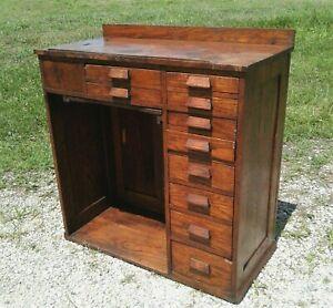 Antique Oak Watchmaker's or Jeweler's Workbench Tall Desk 1930s