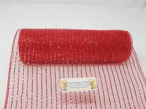 (25cm , Red) - 25cm x 9.1m - Metallic Deco Poly Mesh Ribbon (Red, 25cm )