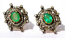 Victorian 2.62ct Rose cut Diamond Emerald Wedding Women's Earrings Christmas