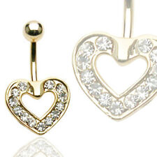 Gold Plated Pave Heart Navel Belly Ring