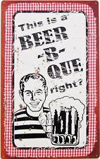 Beer-B-Que TIN SIGN funny vtg bar pub pool beach deck garage bbq diner decor OHW