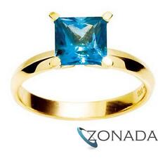 Princess Blue Topaz 9ct 9k Solid Yellow Gold Ring Size P 7.75 24951/bt
