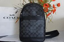 NWT COACH F54787 MEN'S SIGNATURE PVC CHARLES PACK/SLING BACKPACK BLACK/CHARCOAL