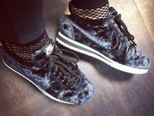 Nike Classic Cortez LX Terciopelo Negro Oro Blanco Zapatillas para hombres y mujeres de cuero UK 5