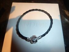 Leather Twist Braided European Snap Clasp Child Charm Bracelet Black 6""