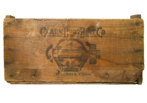 EARLY 20TH C CLARK BROS BOLT CO MILLDALE CT VINT BLK INK STAMPED WOOD BOX CRATE