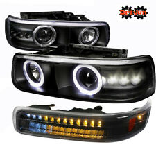 99-02 Silverado 00-05 Suburban Tahoe Projector Black Headlights LED Turn Signal