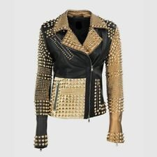 FASHION WOMEN PUNK COOL SPIKE GOLD STUDDED GENUINE LEATHER CROPPED CASUAL JACKET