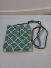 Beaded shoulder bag turquoise flower print  lime green centers white background