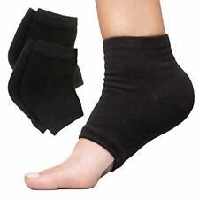 Moisturizing Heel Socks 2 Pairs Gel Lined Toeless Spa Socks (Cotton, Black)