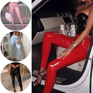 Women's Wet Look PU Leather High Waist Leggings Stretch Pant PVC Trousers Wear