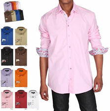 Men's Dress Shirt, Double Layered Collar, Square Button Design Georg Style# A610