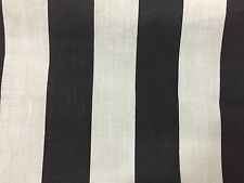 "Black White One Inch Striped Poly Cotton Fabric - Sold By The Yard - 58"" / 59"""