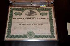 The James W. Hanley Oil & Gas Company De Stock Certificate Rare 1923
