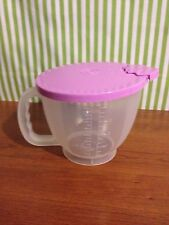 New Tupperware Mix & Store Batter Bowl 4 Cup  Measuring Pitcher Purple Lid
