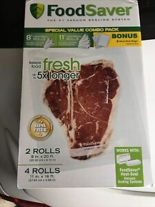 """FoodSaver Roll Special Value Combo Pack 2-8"""", 4-11"""" Rolls + 6 Heat-Seal Bags New"""