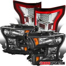 For Ford 2015-2017 F150 Truck Black Headlights+LED Red/Clear Tail Lamps Pair