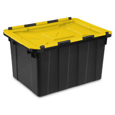 Yellow Black 12 Gal Hinged Lid Industrial Tote Case Of 6 Plastic Storage Bin Box