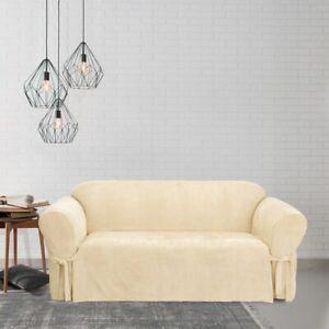 Sure Fit Soft Suede  BOX Cushion - SOFA Slipcover - CREAM