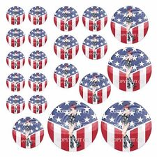 21 Premium Domed Round 3M Decal Sticker Set Car Truck - Pin Up GIrl USA Flag