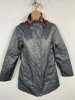WOMENS BLUE MOTION GREY LIGHT WEIGHT HOOD CASUAL JACKET RAIN COAT SIZE SMALL