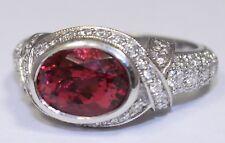 3.15ct Oval Genuine Pink Tourmaline & 1.55ct VS1 G Color Diamond Platinum Ring