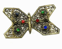 Vintage Czech Gold Filigree Coloured Paste Stone Butterfly Moth  Belt Buckle
