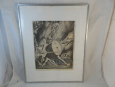 RARE ROCKWELL KENT HAND SIGNED REVERSE IMAGE TRIAL LITHO BEOWULF AND THE DRAGON