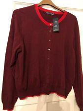 Ladies dark red cardigan size 22 burgundy red trim new soft warm thin