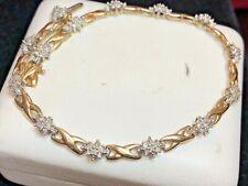 VINTAGE ESTATE 10K YELLOW GOLD NATURAL DIAMOND BRACELET DESIGNER SIGNED HN