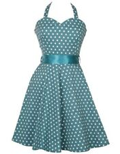 Vintage Polka Dot Print Halterneck 1950's Swing Cocktail Dress Turqoise UK12