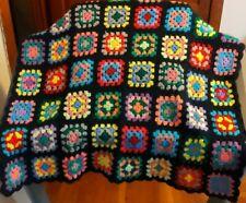 Vintage Handmade Gorgeous Granny Square Crochet Blanket Throw Afghan 56x36 Black