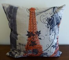 Paris Eiffel Tower Linen Look Cushion Cover 45x45 French Style