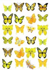 24 X YELLOW MIXED BUTTERFLY EDIBLE CUPCAKE TOPPERS CAKE RICE PAPER M2