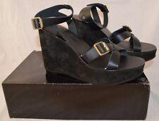 Colin Stuart Black Wedge Sandals- Size 8.5
